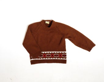 Vintage 70s Toddler Girls Brown Acrylic Sweater