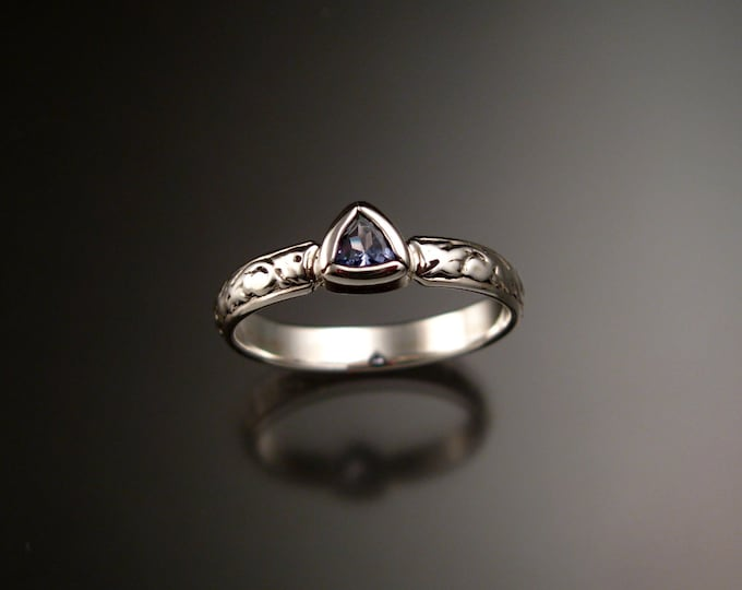 Tanzanite Triangle Wedding ring Sterling Silver Victorian bezel set stone ring made to order in your size