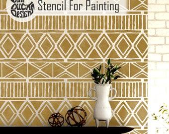 ZULU STENCIL - Tribal African Furniture Craft Wall Stencil for Painting - ZULU01