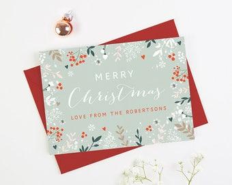 Personalised Christmas Card Botanical Wonderland - Personalised Holiday Cards