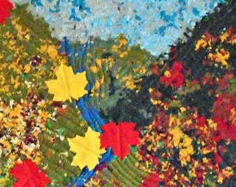 Quilted Wall Hanging, Art Quilt, Autumn Decor, Fibre Arts, Blue/Green/Yellow/Red Quilt, Blowin' In The Wind, Autumn Leaves and Hillside