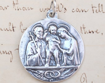 Holy Family / Pope Pius XII Medal - Sterling Silver Antique Replica