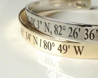 Coordinates Cuff Bracelet (LARGER SIZE) . Latitude Longitude Jewelry . Personalized GPS Jewelry . Tatum Bradley