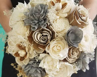 Sola wood flower,  wooden bouquet,  natural flowers,  neutral bouquet,  bride bouquet,  quick shipping,  ready to ship