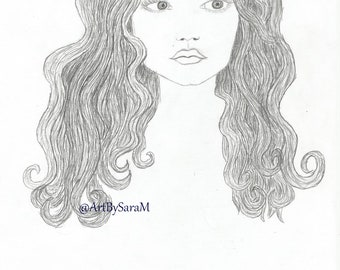 Curly haired girl A4 drawing