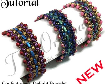 KR038 TUTORIAL -Confectionary Delight Bracelet - Color Kit - Instructions Included, Beadweaving Pattern Instructions