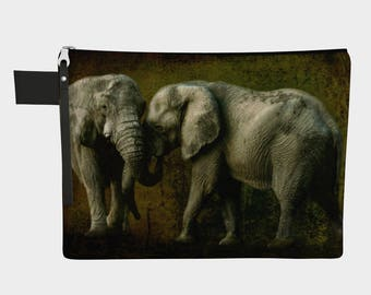 Daybreak Greeting Carry-All Pouch purse, elephant, jungle,