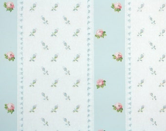 1950s Vintage Wallpaper by the Yard - Pink Rosebuds on Blue and White Stripes, Floral Wallpaper
