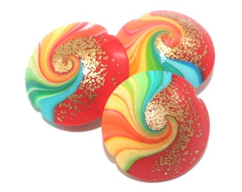 3- Rich rainbow swirl on red boho polymer clay beads w gold touch for DIY jewelry, unique elegant handmade colorful lentil beads