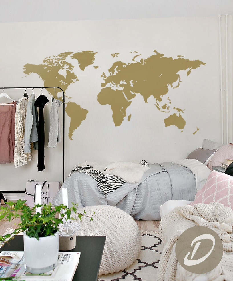 Map of the world decal wall map decal world map sticker world description this world map wall decal gumiabroncs Images