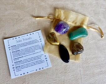 Crystal Stone Set - For Zen, Calmness while Traveling - Tumbled Gemstone Set / Safe Travels, Thinking of You, Care Gift
