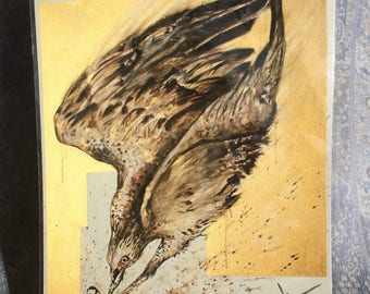 Golden Diving Osprey giclée print