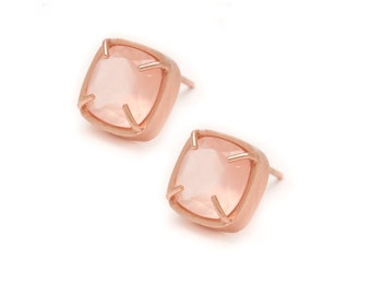 Rose Quartz Stud Earrings - Rose Gold Gemstone Stud Earrings - Rose Quartz in Rose Gold - 18k Rose Gold Vermeil - Studs