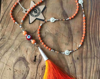 Orange necklace Bohemian beads fossil bead and tassel