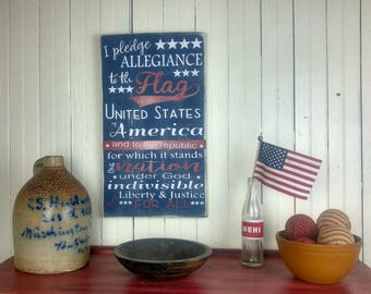 The Pledge of Allegiance Wooden Plaque, Vintage Look, Patriotic Porch Decor Painted Wood Sign, 4th of July Mantle, Summer Home Decor
