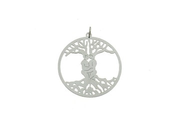 Tree of Life pendant 925 sterling silver plated white gold contromaglia 925 sterling silver plated in gold, diameter mm35