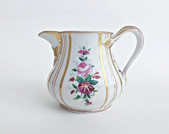 SALE - Antique KPM German Porcelain Pitcher Hand Painted Floral China Creamer