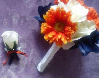 Navy blue orange and white silk bouquet