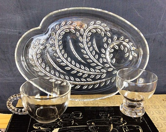 Vintage Snack Set Set of 4 Amber Glass Plates and Cups