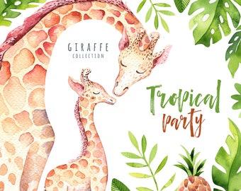 Watercolor nursery animals clipart. Digital kids illustration. Boho nursery. cute animals: bohemian Giraffe collection. Tropical party art