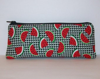 "Pipe Pouch, Watermelon Pipe Bag, Glass Pipe Case, Cute Pouch, Vape Pen Case, Glass Chillum Cozy, 420, Fruit Bag, Padded Pouch - 7.5"" LARGE"