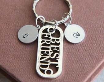 SALE, BFF Keyring, BFF Keychain, Best Friend Keyring, Monogram Keychain, Best Friend Gift, Personalized Initial Keychain, Friend Keyring