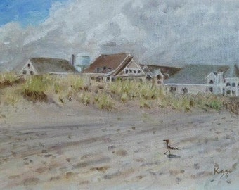 Print of Original Plein Air Oil Painting Stone Harbor New Jersey 98th St Beach Water Tower coastal beach art shore shoreline