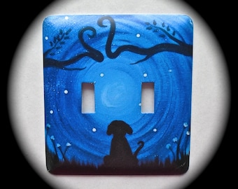 METAL Decorative Double Switch Plate ~ Scenery, Dog, Tree, Light Switchplate, Switch Plate Cover, Home Decor