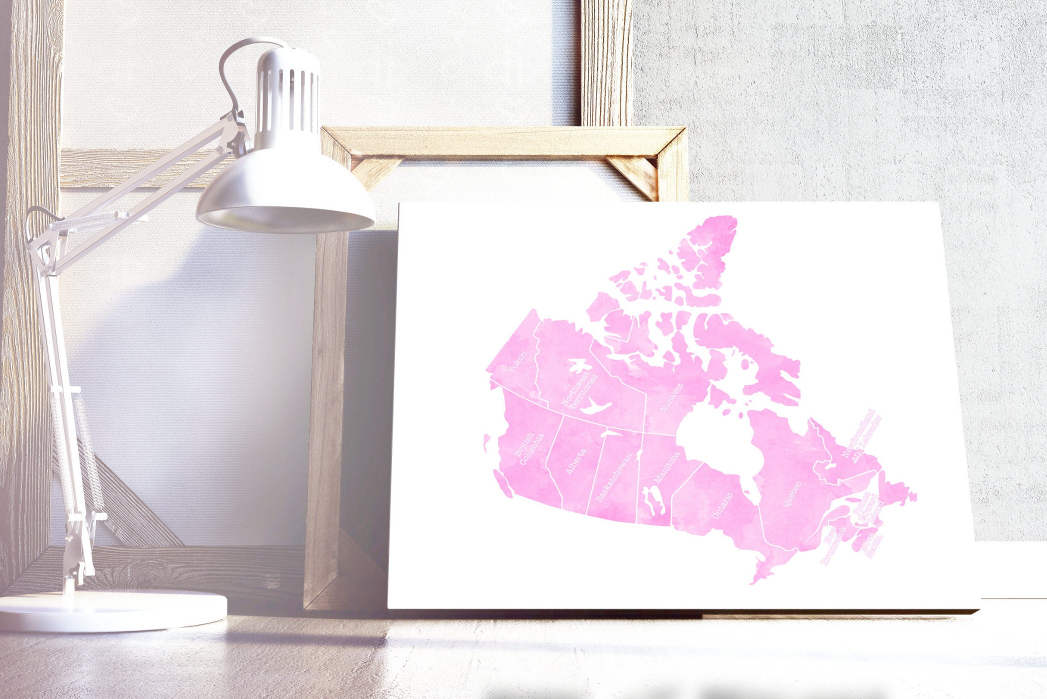 Pink Canada Map Print. Canada Map Wall Art. Watercolour Effect