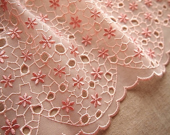 Wide pink lace trim embroidered scalloped openwork 15.5 cm