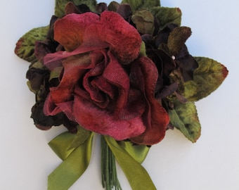 velvet rose and hydrangea posy. velvet flowers. millinery flowers.