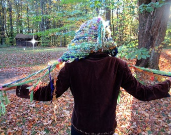 hand knit hat wool art yarn earthy fantasy hood - last of the garden mother nature dream bonnet