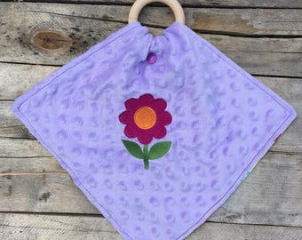Flower Floral Mini Minky Blanket Wood Teething Ring Wooden Teether Pacifier Holder Embroidered Embroidery