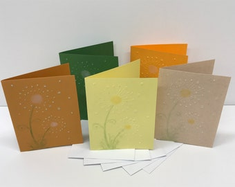 Dandelion Card Set - Embossed - Set of 5 Cards with Envelopes - Glitter Flower Cards - Blank Note Cards