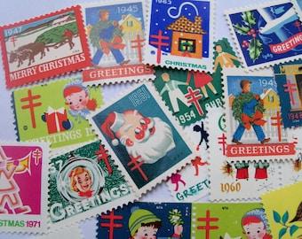 50 Christmas Seals, Vintage Seals, Christmas Stamps, Vintage Christmas, Christmas Craft Supplies