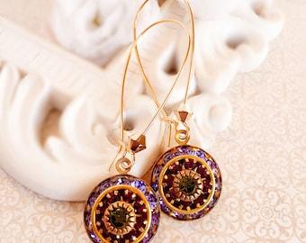 Art Deco Earrings - Purple - Bridesmaid Gifts - Spring Jewelry - AURORA Vineyard