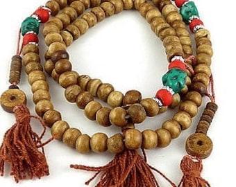 MALA 108 bone yak and counters, mala beads Buddhist rosary prostration AA125.1 necklace