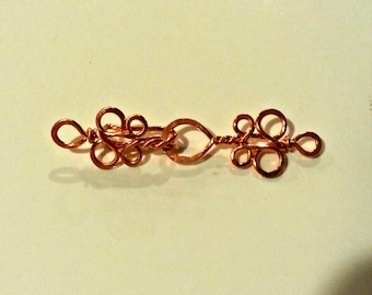 Fancy Handcrafted Copper Hook Clasp Filigree Clasp Artisan Clasp (2 sets) 18g