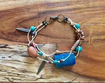 Boho Bracelet in Blue & Antique Gold. Multi strand bracelet beach bracelet bohemian jewelry gypsy jewellery blue bracelet upcycled reclaimed