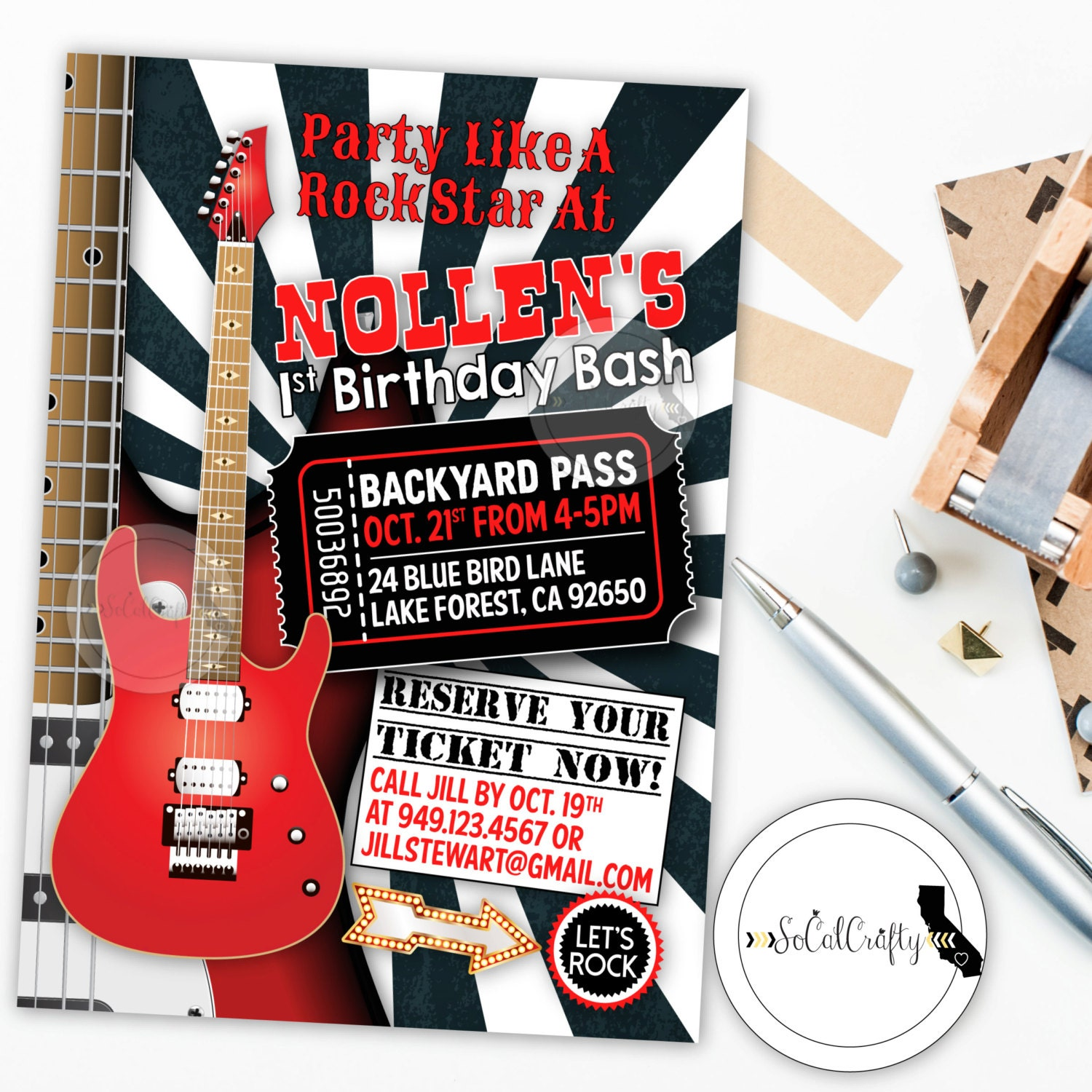 Rock and Roll Birthday Party Invitation Guitar Rock Star