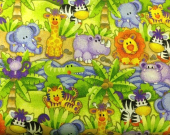 Jungle Babies 100% cotton fabric- sold by the yard   #317