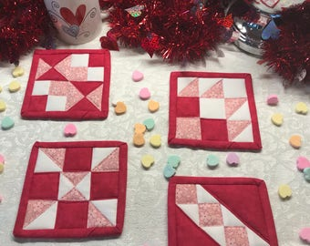 Quilted Mug Rugs, Two Tone Pink Delight Mug Rugs