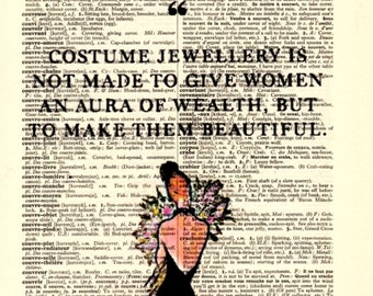 Costume jewlery ...Dictionary Art Print,Vintage Poster,Digital Decoration Pop ART,drawing,Gift ideas,Wall,Office decor,Quotes,Home & Living