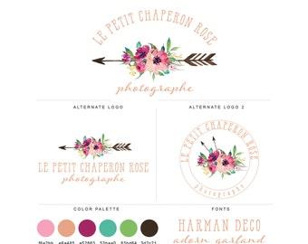 Mini Branding Package, Photography Logo and Watermark, Watercolor Floral Bohemian Arrow Premade Marketing Kit bp24