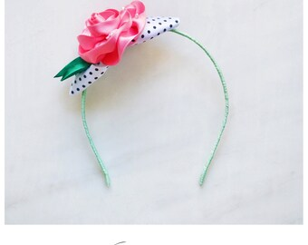 CCC010 - Mint green girl headband with pink satin rose embellished with crystals, black and white polka dots ribbon and emerald green leaves