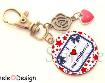 Key ring gift bag for the mistress - red blue heart jewel