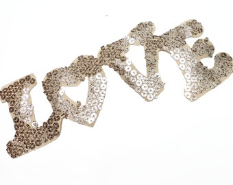 Metal Gold LOVE shaped Patch Applique with Sequins for Easily HotFIx Iron On Transfer for fashion Embellishment