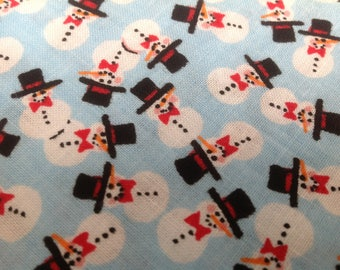 Snowman Fabric Teeny Tiny Snowmen on Light Blue Adorable Cute Snowmen Black Hats and Red Bow Ties