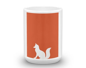 Coffee or Hot Chocolate or Tea Mug with Great Graphic Orange Fox Design Mother's Day Father's Day Gift