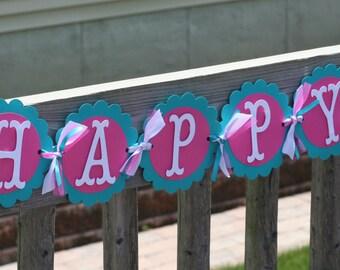 Bird Happy Birthday Banner,  Bird Birthday, Birdie Banner, First Birthday, Pink and Turquoise Banner, Paper goods, Bird Decorations, Birdie